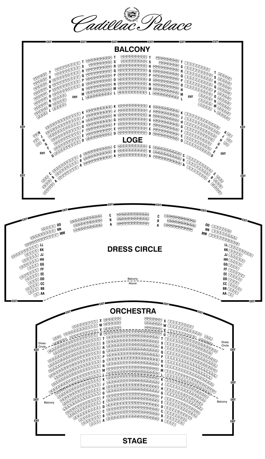 Cadillac palace theatre seating chart theatre in chicago