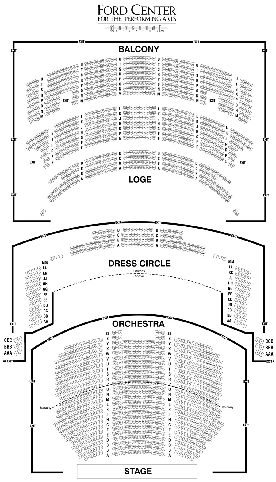 Ford Center Oriental Theatre Seating Chart